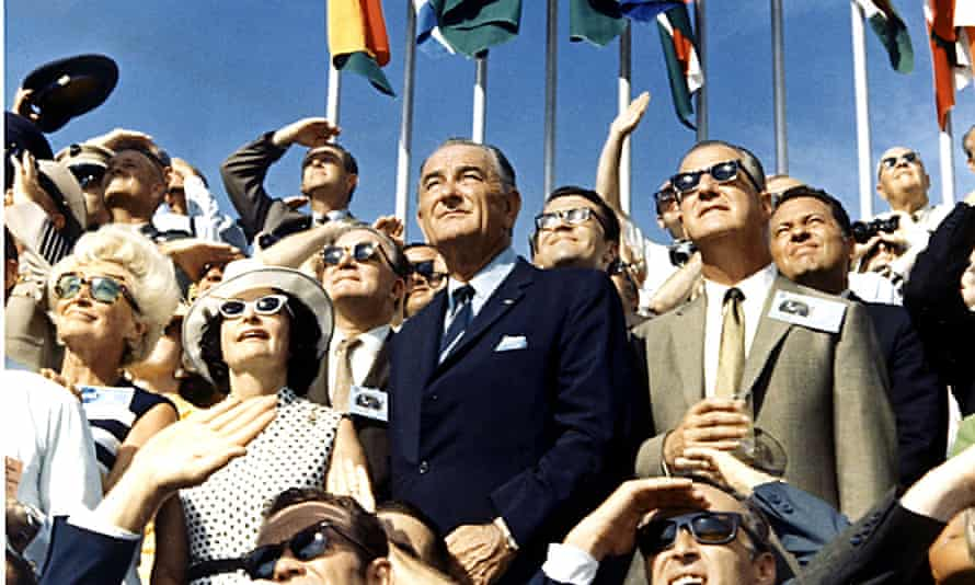 Vice-President Spiro Agnew, right, and former president Lyndon Johnson view the liftoff of Apollo 11 in July 1969.