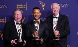 Andrew Lloyd Webber, John Legend, and Tim Rice with their Emmy awards.