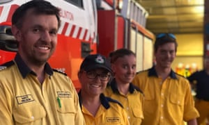 Eglinton RFS captain Matt Nelson, Tanya Willey and other crew members return from a fire near Sofala