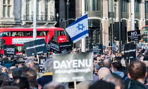 The Jewish Leadership Council and the Board of Deputies of British Jews protest in Parliament Square against antisemitism in the Labour party.