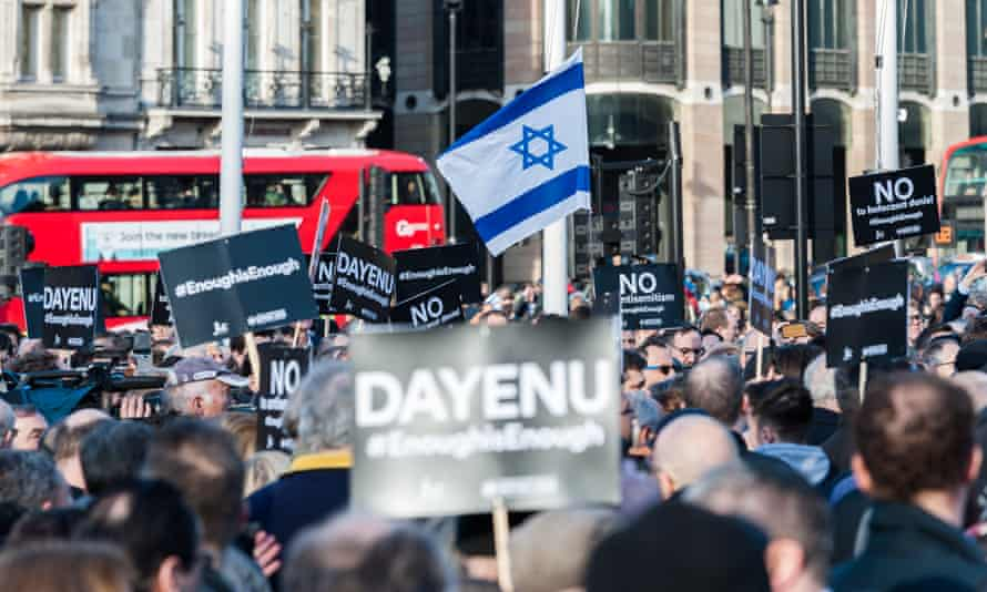 The Jewish Leadership Council and the Board of Deputies of British Jews stage a protest in Parliament Square against antisemitism in the Labour party.