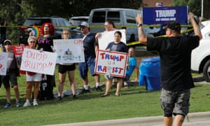 Anti-racist protesters outside Donald Trump's rally in Greenville, North Carolina.