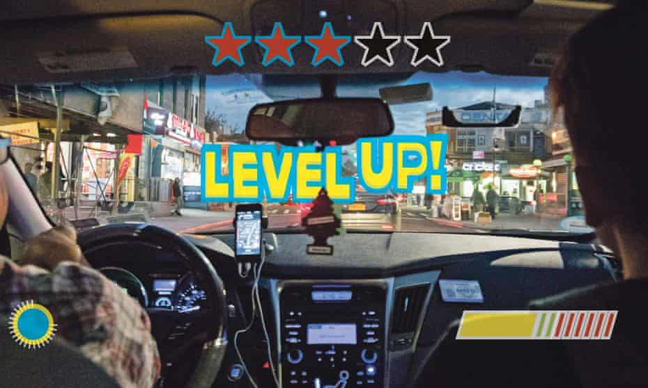 cab driver's view with gamification overlays