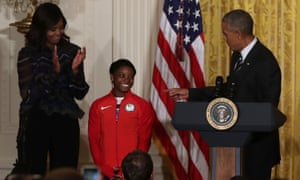 Simone Biles meets US president Barack Obama and first lady Michelle Obama after the 2016 Olympics