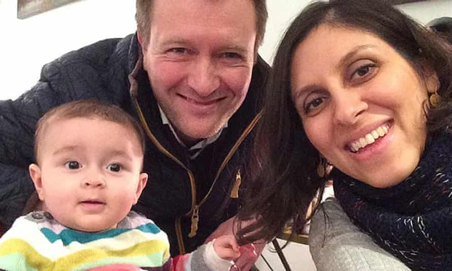 An undated family photograph of Nazanin Zaghari-Ratcliffe with her husband, Richard Ratcliffe, and their daughter, Gabriella.