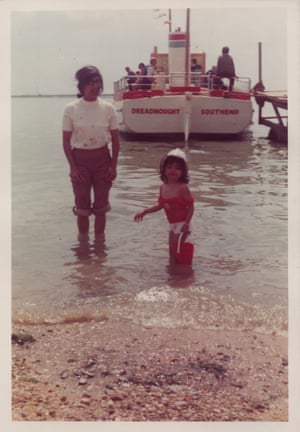 Yvonne Singh at Southend seaside, aged three, with her mum