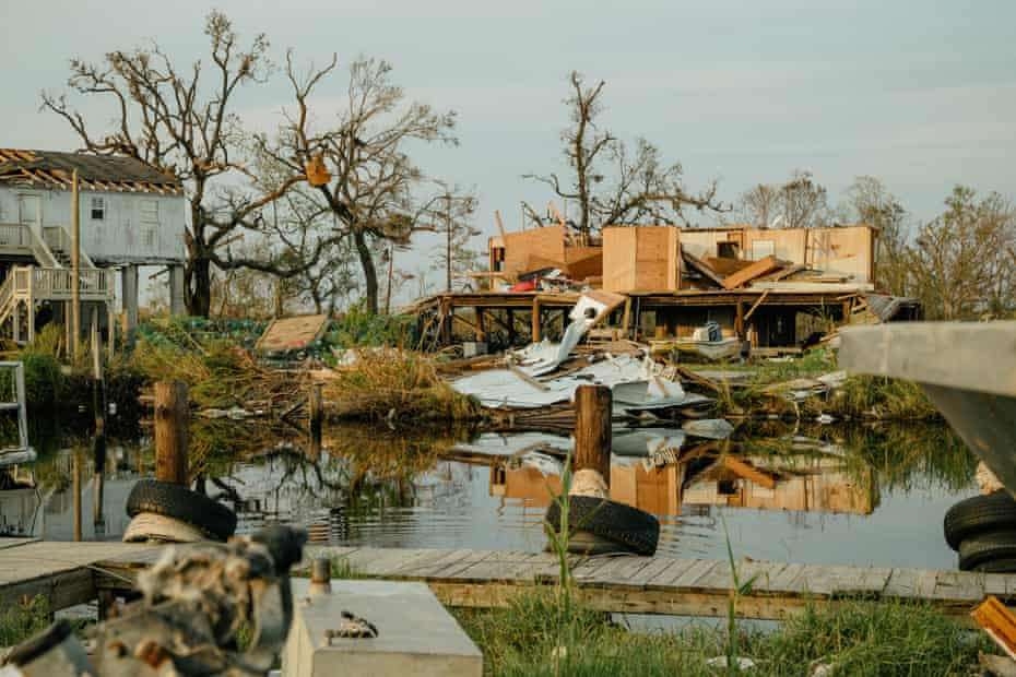Destruction in Pointe-aux-Chenes. Most of the homes on the west side of the bayou have been destroyed.