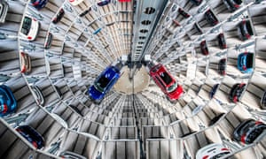 VW's vertical car storage facility at the company's headquarters in Wolfsburg.