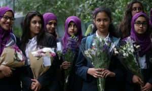 Pupils from Eden Girls' School arrive for a vigil in London on 5 June to commemorate the victims of London Bridge attacks.