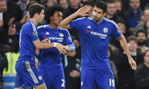 Diego Costa celebrates after scoring his second goal.