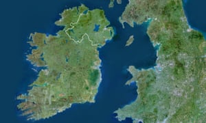 The Island of Ireland. A line signifies the border between the Republic of Ireland and Northern Ireland.