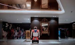 A robot by CTRL Robotics company is seen at the first floor of the Sky Hotel in Sandton, South Africa, on January 29, 2021.