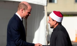 Prince William was greeted by Imam Gamal Fouda at Al Noor mosque in Christchurch.