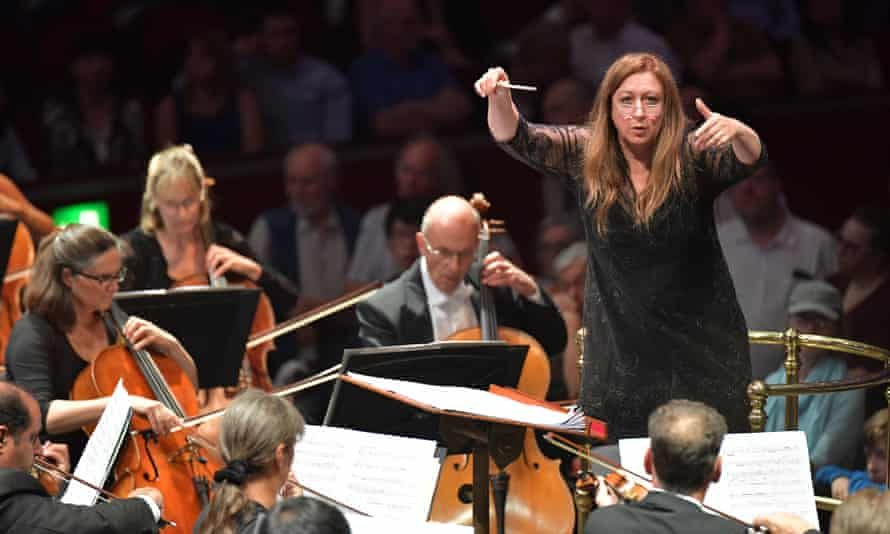 Simone Young conducts the BBC Symphony Orchestra for Prom 62 at the Royal Albert Hall on Wednesday.