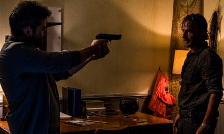 Face off: Andrew Lincoln as Rick Grimes, Juan Gabriel Pareja as Morales.