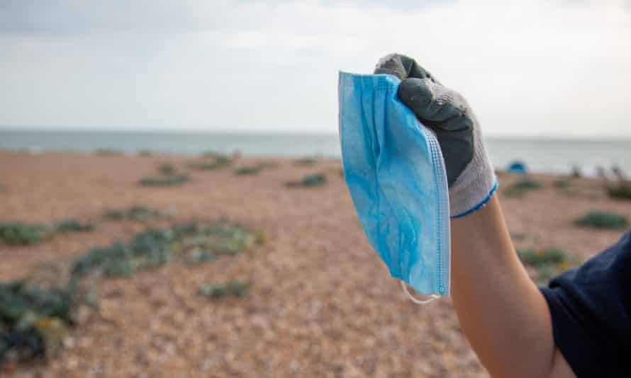 A surgical mask found during a litter clean-up in September in Cornwall.