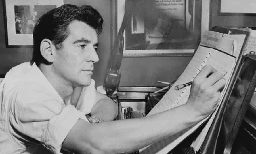 Leonard Bernstein at work in 1955.