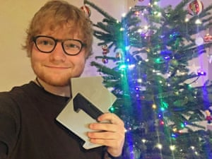 Ed Sheeran does a selfie after winning the Christmas No 1 slot.