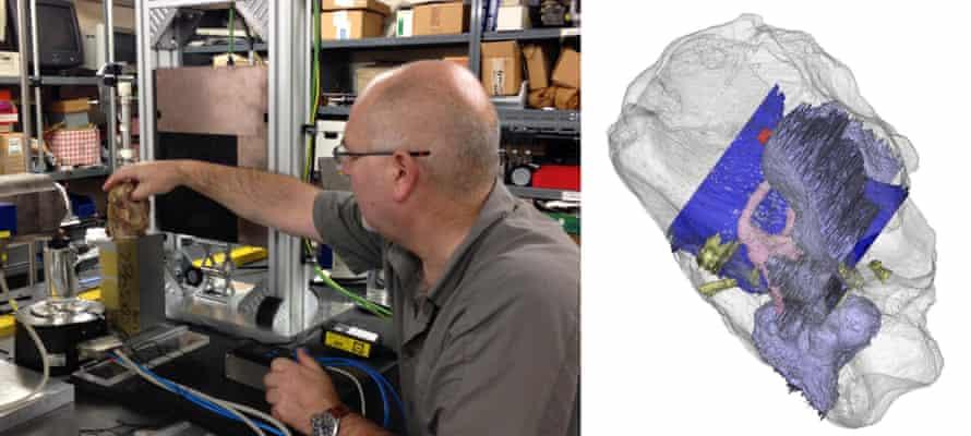 CT scanning a tyrannosaur skull