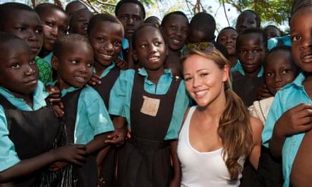 Kimberley Walsh with Ugandan school children