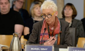 Muriel Gray being questioned at Holyrood