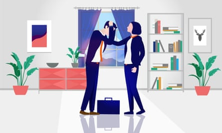 An illustration of a woman comforting her partner, in a suit with a briefcase, grieving his lost job.