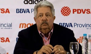A 2012 picture of then president of the Venezuelan Football Federation, Rafael Esquivel.