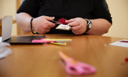 A service user during a crafts session