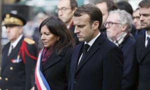 Anne Hidalgo and Emmanuel Macron in Paris