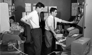 Don Hunter, right, with a colleague, Alan Marr, at the Standard Telecommunication Laboratories in the late 1950s