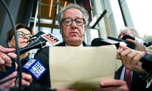 Geoffrey Rush outside court after winning his defamation case against the Daily Telegraph