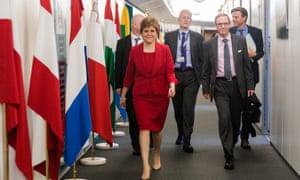 Nicola Sturgeon, Scotland's first minister, arriving for a meeting in Brussels with Michel Barnier, the EU's chief Brexit negotiator.