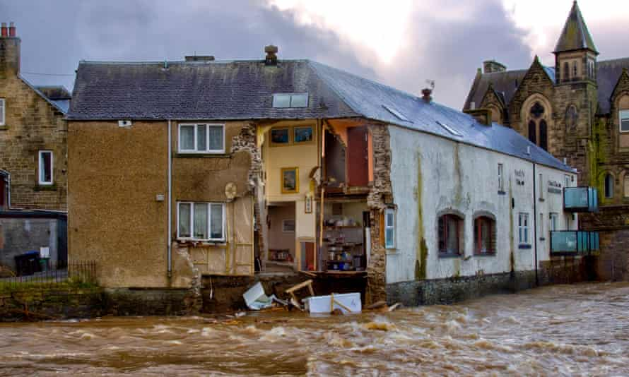 The Bridge House guesthouse in Hawick after its outer wall collapsed into the River Teviot earlier this year.