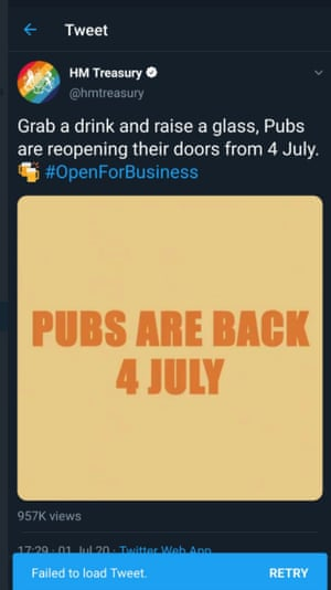 HM Treasury's official account deleted a tweet saying 'Pubs are back;.