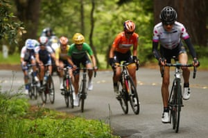 Mara Abbott leads a breakaway during a race in Santa Rosa, California, earlier this year.