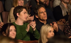 'It's well-worn territory for Stiller, who's riffed on this before in Greenberg and While We're Young, and his casting is both well-suited and somewhat repetitive' ... Austin Abrams and Ben Stiller in Brad's Status.