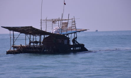 A raft fishery in the Gulf of Mottama, Myanmar.