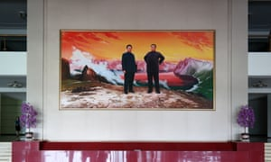 A portrait of the Eternal President, Kim Il-sung, and the Eternal Chairman, Kim Jong-il, in the Changgwang San Hotel.