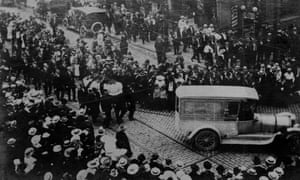 The funeral procession for Frank Little.
