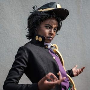Effie Wambui, dressed as Jotaro Kujo from the Japanese manga JoJo's Bizarre Adventure, at a cosplay contest in Nairobi