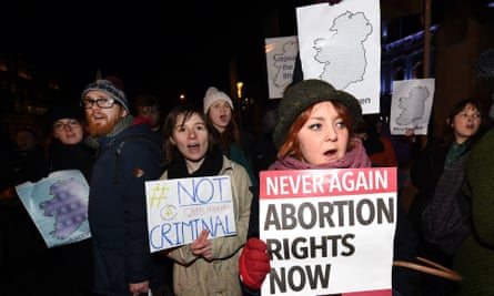 Pro-Choice Rally In Support Of 21 Year Old Woman Charged With Abortion<br>BELFAST, NORTHERN IRELAND - JANUARY 15: Pro Choice activists rally outside City Hall on January 15, 2016 in Belfast, Northern Ireland. The Pro Choice activists are rallying in support of the 21 year old woman, who cannot be identified for legal reasons, charged this week at Belfast Magistrates' court with unlawfully administering to herself noxious substances, namely the drugs Mifepristone and Misoprostol with intent to procure a miscrriage for herself. Abortion in Northern Ireland is still unlawful despite a recent High Court ruling that in some circumstances the current laws were a breach of human rights. (Photo by Charles McQuillan/Getty Images)