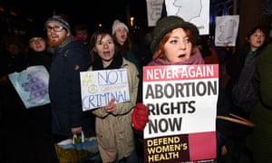Pro-choice activists rally in Belfast on 15 January over Northern Ireland's abortion laws.