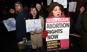 Pro Choice activists rally in Belfast in January in support of the 21-year-old woman who was this week handed a suspended sentence for inducing her own miscarriage with pills bought over the internet.