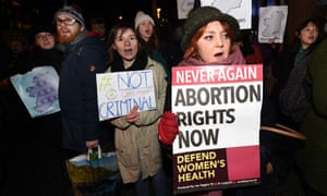Pro-choice activists stage demonstration outside Belfast city hall on 15 January.