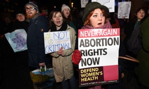 Pro-choice activists rally outside city hall in Belfast in January.
