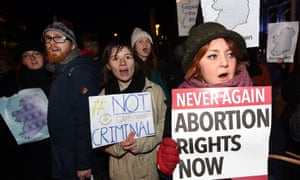 A pro-choice rally in Belfast in January