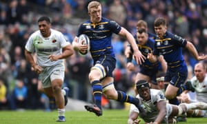 Leinster's Dan Leavy breaks through the Saracens defence to score in last season's Champions Cup quarter-final.