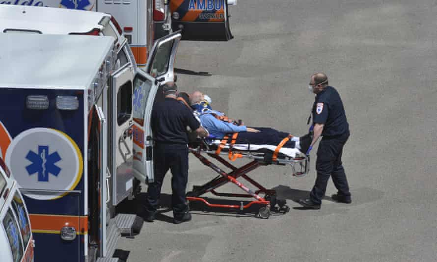 A patient is brought by ambulance to the emergency entrance to Massachusetts general hospital in Boston on Monday.