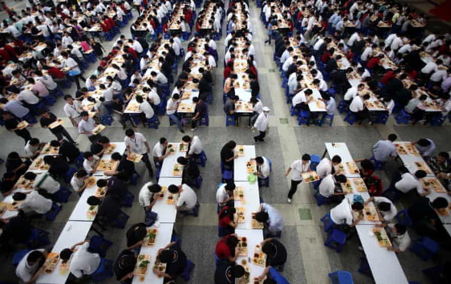 lunch in the refectory of foxconn longhua in shenzhen