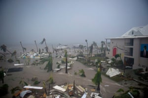 Hurricane Irma batters the Franco-Dutch island of Saint Martin.